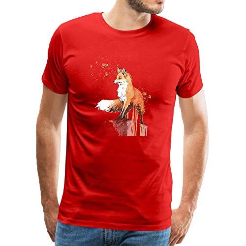 T shirt uomo manica corta cute animal orange-red fox stampa casual moda top girocollo estiva maglia uomo felpe collo rotondo, manica corta, uomo rosso xl