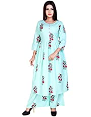 Marlin Women's Cotton Kurti With Palazzo Pant Set (Light Green)