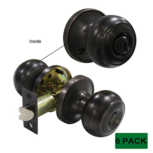 probrico Sichtschutz Tür Knöpfe Griffe Öl eingerieben Bronze Bett/Bad Kolonialstil Knopf, Lock Lock 6Stück