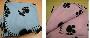 Small Blue or Pink Fleece Blankets For Pet Bedding Cats & Dogs by Pet Touch