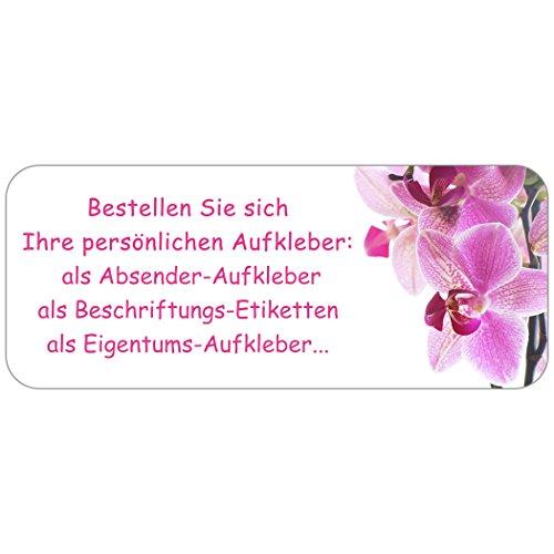 """Adress-Etiketten - Adress-Aufkleber """"Orchidee"""" mit Ihrem Wunschtext, 160 Stück, ca. 56 x 23 mm, für 1 bis 5 Zeilen Text"""