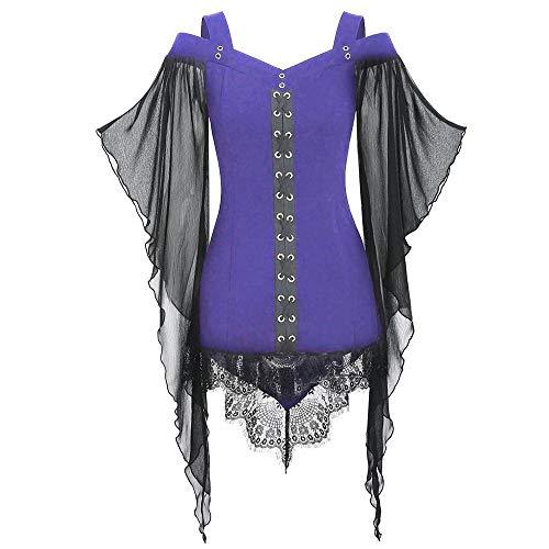 Aiserkly Halloween Damen Gothic Tops Criss Cross Lace Insert Schmetterlingshülse Hexenkostüm Plus Size Bluse Cosplay Karneval Fasching T-Shirt Lila 2XL (Assassin's Creed Moderne Assassine Kostüm)