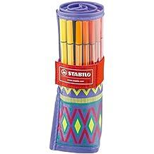 Stabilo Pen 68 - Estuche de tela con 25 colores (edición limitada Festival Spirit), tinta multicolor
