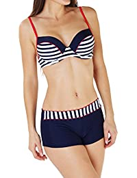 Maillot de Bain Femme Bikini Shorty Armature et Push-Up Bleu et Blanc Marin