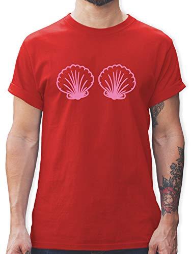 Karneval & Fasching - Meerjungfrau Kostüm rosa - XXL - Rot - L190 - Herren T-Shirt und Männer Tshirt (Herren Under The Sea Kostüm)