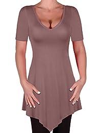 Eyecatch Plus - Keira Damen V-Ausschnitt Tunika Frauen Saum T-Shirts Oberteile Bluse