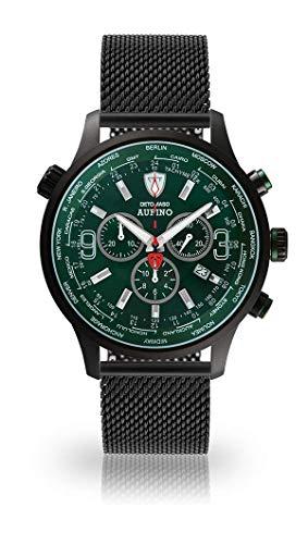 DETOMASO AURINO Racing Montre Hommes Chronographe Chronographe Analogique Quartz Noir Bracelet Milanaise Cadran Vert DT1061-N-851