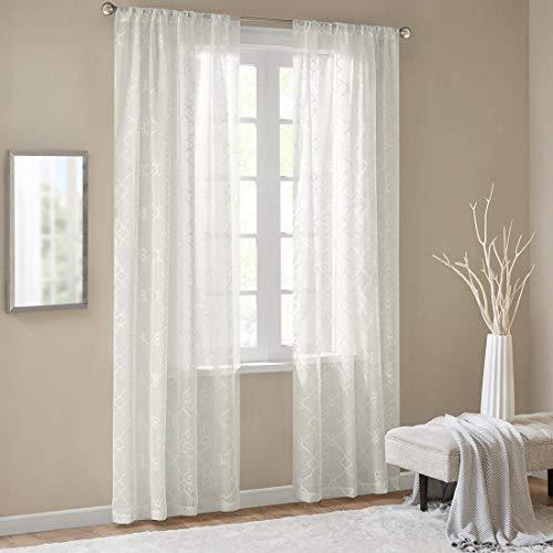 Gardinen Schals mit Stickerei Vorhänge Schlafzimmer Transparent Vorhang für große Fenster Anya Off White, lang (2er-Set, je 245x140cm)