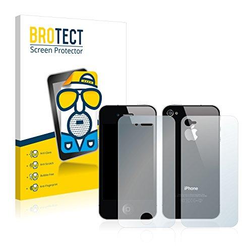 2x BROTECT Matte Pellicola Protettiva Opaca per Apple iPhone 4S (Anteriore + Posteriore) Proteggi Schermo Opaco, Antiriflesso