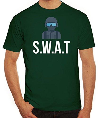 Fasching Karneval Herren T-Shirt mit SWAT Kostüm 2 Motiv von ShirtStreet Dunkelgrün