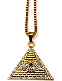 AlwaysBling® Hip Hop Fashion chapado en oro grande ojo de Horus colgante collar