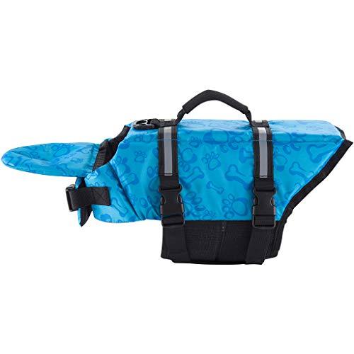 Zilee Hunde Schwimmweste Rettungsweste Haustier Schwimmweste Verstellbare Schwimmweste für Hunde Lifesaver Weste Wassersport Float Coat,Blau L