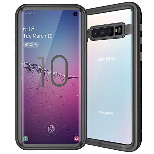 e für Samsung Galaxy S10, wasserfest, mit eingebautem Displayschutz, robust, stoßfest, stoßfest, stoßfest, schwarz ()