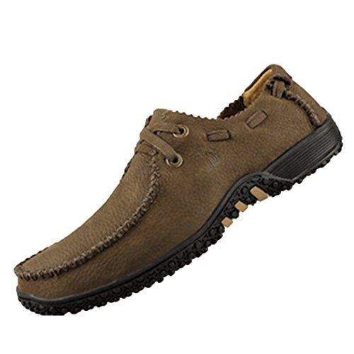 Spades & Clubs Herrenschuhe, modischer, lässiger Stil, flache Schuhe mit strukturierter Sohle, Leder, braun - braun - Größe: 44 EU