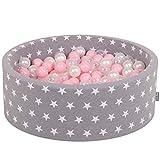 KiddyMoon Kinder Bällebad Weiche Ränder 200 Bälle 90X30 Sterne Made In EU, Grausterne: Rosa/Perle/Transparent,90X30cm/200 Bälle