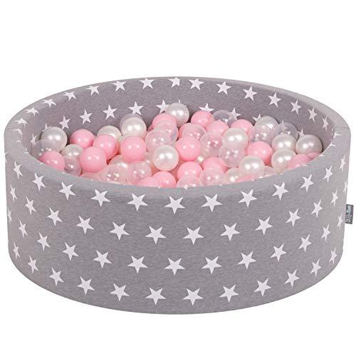 KiddyMoon 90X30cm/200 Balles ∅ 7Cm Piscine À Balles pour Bébé Rond Fabriqué en UE, Ét Blanc-Gris: Rose Poudré-Perle-Transparent