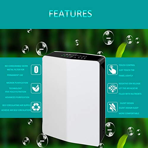 41zPcnQM%2B3L. SS500  - Lbellay Double electrostatic Negative ion Intelligent air purifier Touch type home air micro purifier Wind speed adjustment | temperature and humidity display,White-65 * 43 * 20 cm