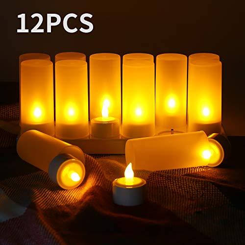 YISUN 12er LED-Kerzen, Led Teelichter wiederaufladbar Batteriebetriebene Flammenlose Kerzen Flammenlose Kerzen, Kabellose Teelichter Lichter Dekoration (Gelb)