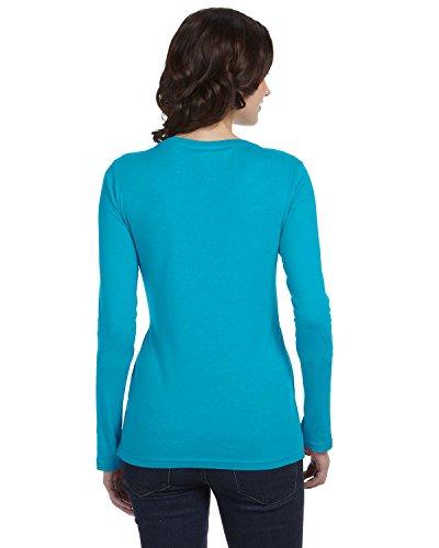 Anvil - Top à manches longues - Asymétrique - Femme Bleu - Carribean Blue