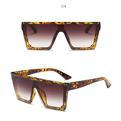 Chudanba Sonnenbrillen Damen Design Square Frame Flat Top Cool Glasses Shades,C4 Schildpatt