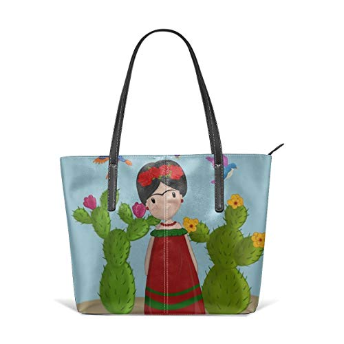 Cocoal-ltd Frida Kahlo bolsa de cuero para muñeca, bolsa de hombro grande, bolsa de almacenamiento portátil, bolsa de compras conveniente