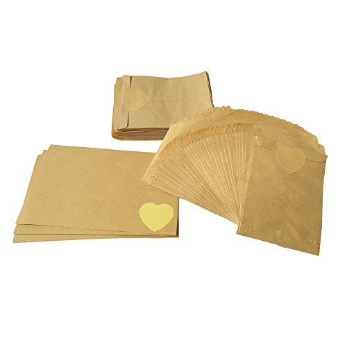 100 Kraft Sac en Papier sac de Bonbons Sacs de Graines Sacs-Cadeaux Enveloppes Sacs à Bijoux Sacs de Bonbons +(4.5 cm) 120 pcs en Forme de Coeur Kraft Papier autocollant (A)