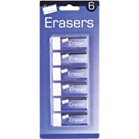 Just Stationery Eraser - White (Pack of 6)