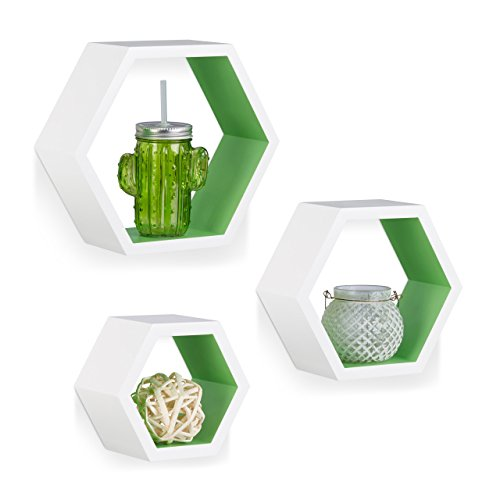 Relaxdays 10021897_252 set 3 mensole da parete, esagonali, decorative, legno mdf, per soggiorno, cameretta, bianco-verde