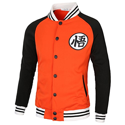 PIZZ ANNU Dragon Ball Wu Palabra de béisbol Uniforme de la Chaqueta (Naranja&Negro M)