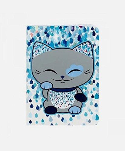 carnet-chat-porte-bonheur-mani-the-lucky-cat-bleu-gris