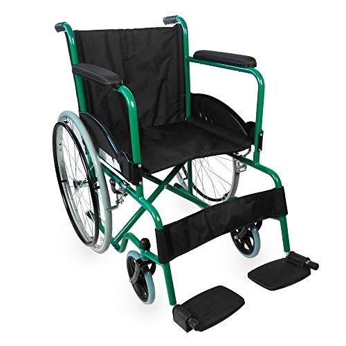 Mobiclinic, Rollstuhl, Faltrollstuhl, Modell Alcazaba, ergonomischer Sitz und Rückenlehne, Schwarz und grün, Sitzbreite 46 cm