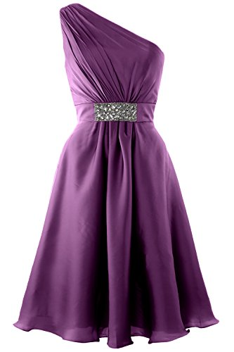 MACloth Elegant One Shoulder Cocktail Dress Short Wedding Party Formal Gown Eggplant