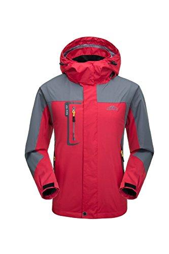 Giacca da uomo traspirante impermeabile con cappuccio, sport all' aria aperta giacca antivento softshelljacken (rosso, xl)
