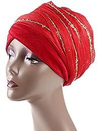 Moonuy Femmes Inde Afrique Musulman Stretch Fleurs Chapeau Gaze Cheveux  Tête Écharpe Wrap Cap Turban en 35c22105987