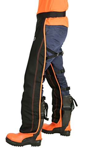 Whilst the chainsaw trousers we review here are of great quality, the OREGON Universal Type A Chainsaw Safety Leggings/Seatless Trousers is the best choice for front protection. The 6-layer protection material is vital for guarding against severe injury in case the unwanted happens. An open back design guarantees improved breathability unlike fully enclosed chainsaw trousers. If you are looking for an ideal pair for use in hot summer days, this Oregon version suits the bill.
