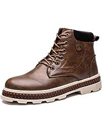 Botas De Cuero para Hombre Botines con Cordones para El Invierno Zapatos Chukka Antideslizantes Botas CáLidas