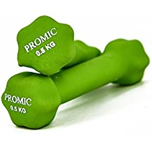 Promic Fitness pesas juego de mancuernas con revestimiento de neopreno entrenamiento aeróbico pesas para un agarre antideslizante, set de 2, verde, 2 x 0.5 kg