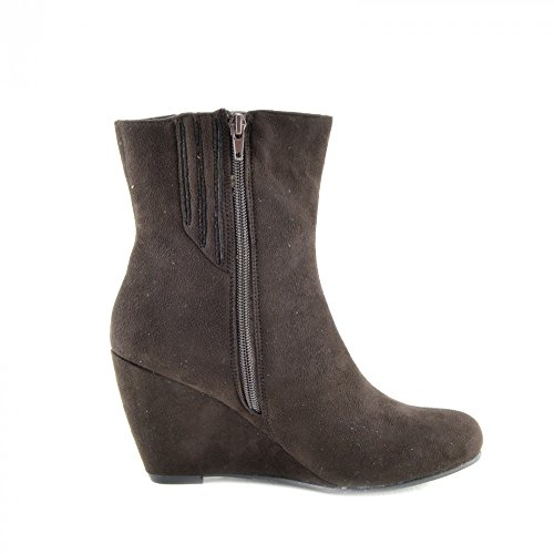Kick Footwear - Womens stivali donne scarpe di alta alla caviglia zeppe tacchi smart zip up bootie nuova dimensione Marrone
