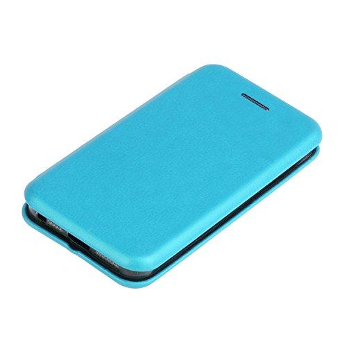YHUISEN Solid Color Premium-PU-Leder und weicher TPU Gummischutz Mappen-Entwurfs-Flip Folio Case Schutzhülle mit Karten-Slot / Ständer für iPhone SE 5S 5 ( Color : Silver ) Blue