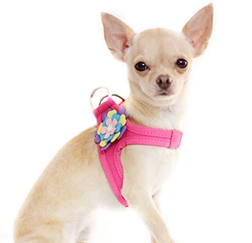"""Lushpetz Blumen-Hundegeschirr im rosa schwarzen Blauen oder purpurroten Entwurf für Kleine mittlere Hunderassen XSmall (4 Passt auf die Brust 60cm /23.5\"""", Pink)"""