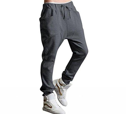 Minetom Hombres Harén Pantalones Deportivos Pantalones Casual Trotar Bailando Baggy Pantalones Gris Oscuro EU S