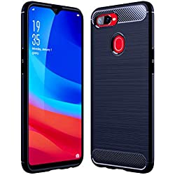 Golden Sand Shockproof Armor Carbon Fibre Textured TPU Back Cover for Oppo F9/ Pro-Twilight Blue