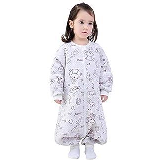 Happy Cherry- Saco de Dormir de Algodón para Bebé Niños Infantil Pijama Entero Transpirable Caliente para Otoño Invierno 1-2.5 TOG – 0-1 Años