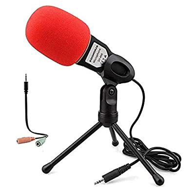 PC Microphone With Stand for PC and Smartphone,3.5MM Plug and Play Omnidirectional Mic for Gaming,YouTube Video,Recording Podcast
