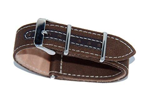 Cinturino Nato in pelle e cordura (24-24, Marrone)