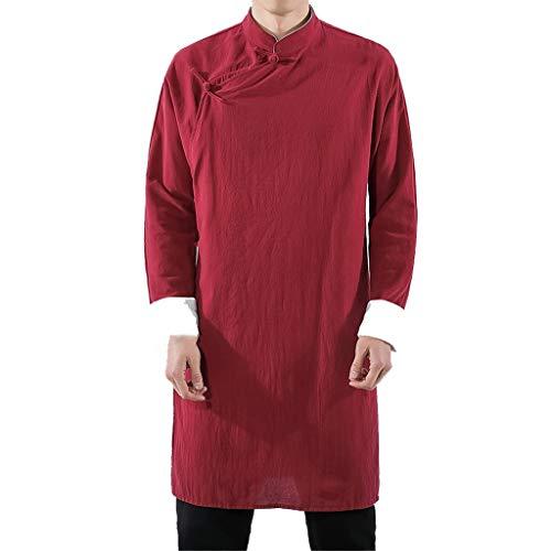 ZHANSANFM Herrenhemd Herren Chinesische Tang-Anzug Oberseiten Unifarben Langarm Baumwolle Lang Jacke langärmelige Kampfkunst Kung Fu Hemden Tai Chi Tang-Klage Nationale Kostüme (XL, - Roten Anzug Jacke Kostüm