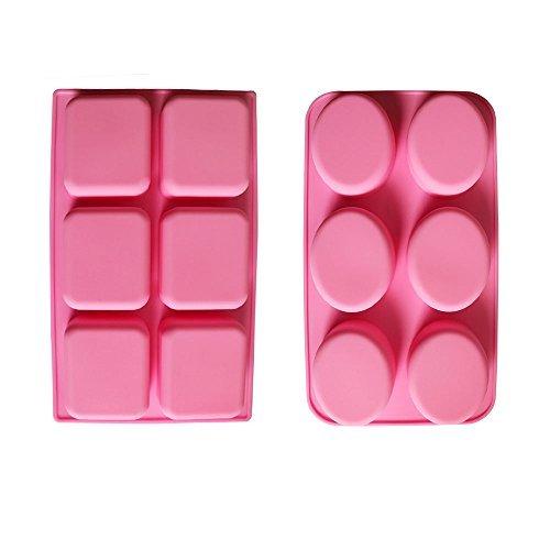 BAKER DEPOT 6 Löcher Ovale und rechteckige Silikonform für handgefertigte Seifenherstellung, 2er Set Oval Baker
