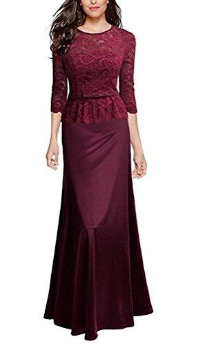 MILEEO Damen Elegant Vintage Abendkleid Rundhals Schwarze Spitzen Brautjungfer Cocktailkleid Vintage Cocktailkleid Langes Kleid Gr.S-XXL Wine Rot