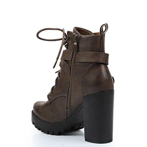 Ideal Shoes–Stiefelette à talon Kunstleder Kalise Braun - braun