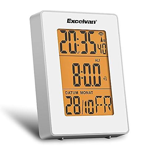 Excelvan Horloge Numérique Thermomètre LCD Affiche avec Calendrier Heure Température DCF77 Radio Contrôlée Temps Réglé Automatique Réveil Digitale Multifonctionnelle Double Alarme Blanche